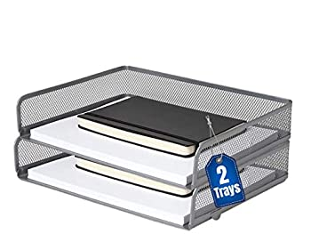 1InTheOffice Desk Tray Side Load Letter Tray Stackable Silver Mesh Tray 2 Pack