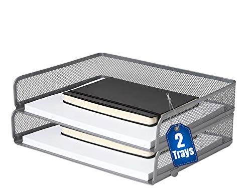 """1InTheOffice Desk Tray, Side Load Letter Tray, Stackable Silver Mesh Tray""""2 Pack"""""""