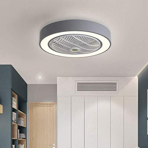 Los Ventiladores de Techo Control de luz y Remoto, Ventilador con luz LED de 40W, Velocidad del Viento Ajustable y 4 temperaturas, función de guía de para el Dormitorio Living 40W ø55cm,Gris