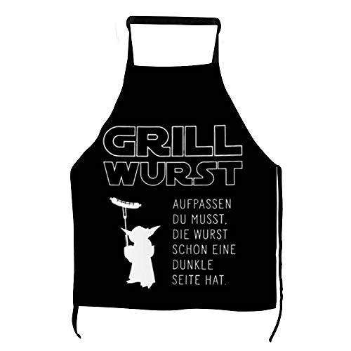 Lustige Grill Wurst Grillschürze Männer Frauen Kochschürze Star Yoda Latzschürze mit Taschen BBQ Aprons Kochen Backen Küche Gartenarbeit ly75rt3b95ur