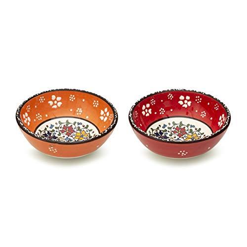 Juego de 2 cuencos de cerámica para cereales de desayuno, arroz, sopa, avena, ensalada, fideos, batido, decoración colorida para el hogar, marroquí, japonés, español, mandala, cuencos para servir