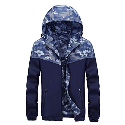 HX fashion Herren Jacke Sportjacke Trainingsjacke Sommer Outdoor Camouflage Bequeme Größen Joggingjacken Langarm Kapuzenmantel Coat Kleidung (Color : Blau, Size : 3XL)
