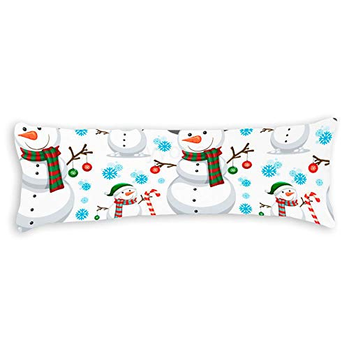 YY-one Decorative Body Pillow Cover Christmas Snowman Seamless Pattern Long Body Pillow Case 20x60 Inch