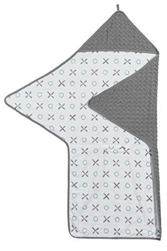 Meyco 2572012 Baby-Kinder Einschlagtuch-Wickeldecke Waffelpique 110x98cm XO Grau-Stone Green-Weiss