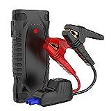 Feixunfan Arrancador de Coches 1500a 12000mAh Banco De Energía De La Batería De Emergencia con DIRIGIÓ Linterna USB Port Smart Wire Clip para Camionetas Todoterreno (Color : Black, Size : 12000mAh)