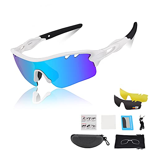DUDUKING Occhiali da Sole Ciclismo Occhiali Polarizzati Sportivi per Bambino Adolescenti con 3 Lenti Colorati Anti-UV Antivento Aviatore Specchio per Ciclismo Guida Pesca Running Golf Bici Moto