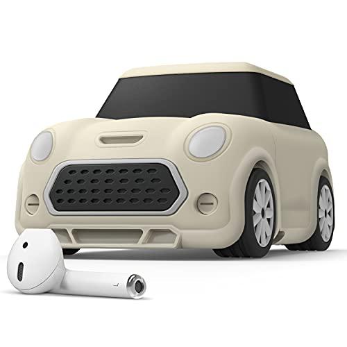 elago Mini CAR AirPods Hoesje met sleutelhanger ontworpen compatibel met AirPods 1 & 2 Oplaadcase Hoes [Koplampen en achterlichten geven licht in het donker] [Geregistreerd patent] (Classic White)