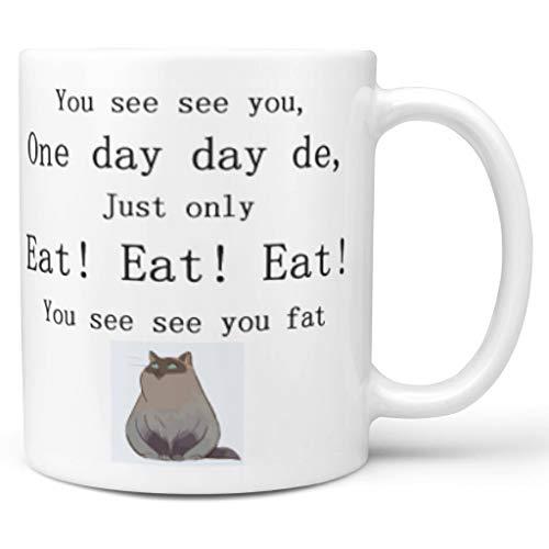 Lind88 11 oz. Vette kat grijze thee mok met handvat keramische nieuwigheid mok - grappig chinglish, pak voor kinderen gebruik