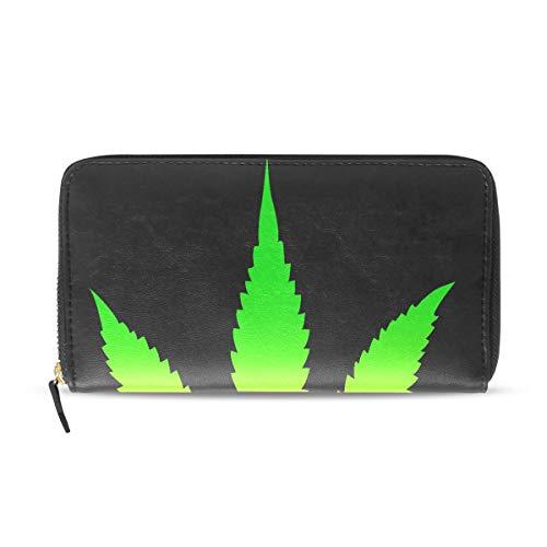 Cool Green Cannabis Leaf Icon Lange Passport Clutch Geldbörsen Reißverschluss Geldbörse Tasche Handtasche Geld Organizer Tasche Kreditkarteninhaber Für Dame Frauen Mädchen Männer Reise Geschenk
