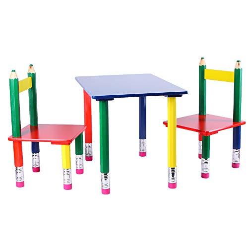 Kindersitzgruppe Bleistift Kindermöbel Tisch Stuhl 3.-teilig bunt Sitzmöbel Holz MDF Sitzgruppe