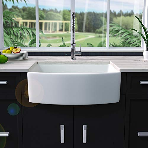 30 Farmhouse Sink White - Sarlai 30 Inch Kitchen Sink Arch Edge Curved Apron Front Ceramic Porcelain Fireclay Single Bowl Farmer Sink