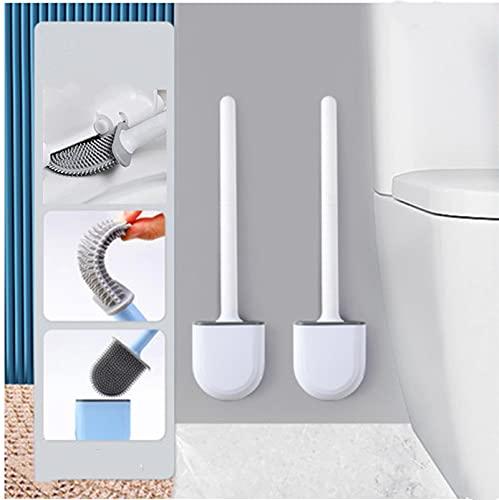 2PCS Scopino per WC, spazzola per WC in silicone e contenitore – Scopino per WC con set di supporto ad asciugatura rapida, montaggio a parete e in piedi per bagno o WC per ospiti