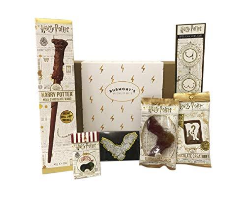 La Caja Harry Potter Con La Selección Definitiva - Varita De Chocolate, Criaturas De Chocolate Jelly Belly Bertie, Grajeas Y Criaturas De Gominola - Cesta Exclusiva Para Burmont's