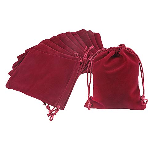 jijAcraft 20Pcs Bolsas de Terciopelo con Cordón 12x15cm Bolsas de Joyería, Bolsas de Regalo de Boda Bolsas de Dulces - Rojo Vino