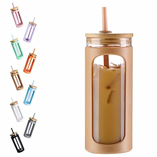 Kodrine 20oz Glass Water Tumble with Straw and Lid,Bamboo Lids Water Bottle, Iced Coffee Cup Reusable, Wide Mouth Smoothie Cups, Straw Silicone Protective Sleeve BPA FREE-Amber