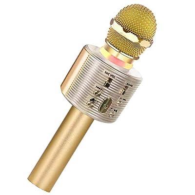 SaponinTree Wireless Bluetooth Karaoke Microphone, Karaoke Player Speaker with LED Dancing Light, Portable Handheld karaoke Mic for Party/Kids Singing (gold)