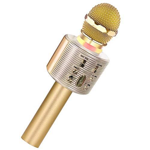 SaponinTree Microfono Karaoke Bluetooth Wireless, Portatile Microfono Karaoke Bambini con Altoparlante, Microfono Karaoke Player con LED Luci per Partito Compleanno Regalo (Oro)