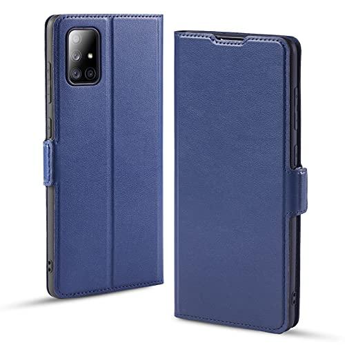 Funda Samsung Galaxy A71, Funda Samsung A71 Libro, Carcasa A71 con Cierre Magnético, Tarjetero y Suporte, Capa Plegable Cartera, Flip Phone Cover Case, Tipo Étui Piel, PU TPU Protección. Azul