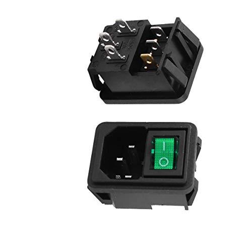 Aexit 2 Stück grünes Licht Wippschalter IEC320 C14 Steckdose AC 10A 250V (ad6834e6169a8feeac39aea5db4e984b)