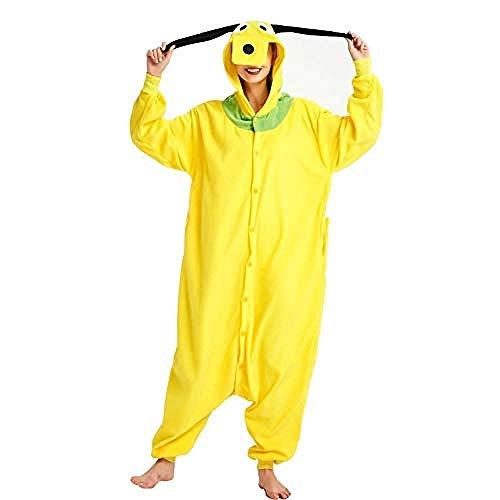 Pijamas de Perro Amarillo Kigurumi Onesie Adultos Navidad Cosplay Costume Sumpsuits Botón Botón Nixx0 (Color : Goofy Dog Onesie, Size : X-Large)
