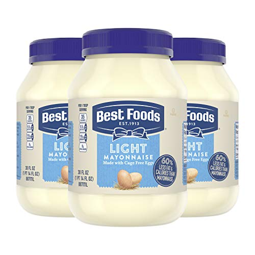 food mayonnaises Best Foods Mayonnaise For A Creamy Condiment for Sandwiches and Simple Meals Light Mayo Made With 100% Cage-Free Eggs, 30 fl oz - Pack of 3
