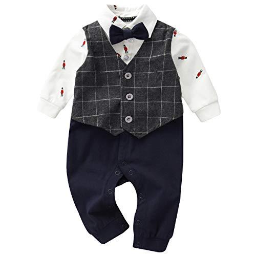 Famuka Baby Junge Anzüge & Sakkos Neugeborene Smoking Taufe Hochzeit Babybekleidung (Grau, 18-24Monate/90cm)