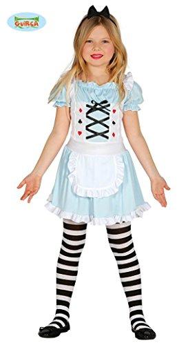 Guirca-Costume da Alice nel Paese delle Meraviglie, Bambina 5-6 Anni, Colore Celeste, 85929