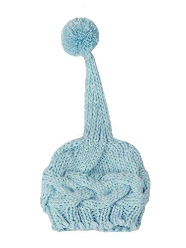 Bestkint Nouveau-né bébé garçon Fille en Crochet Chapeau Bonnet Top Pompon Photographie Prop - Bleu - S