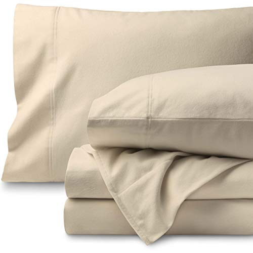 Bare Home Flannel Sheet Set 100% Cotton, Velvety Soft Heavyweight - Double Brushed Flannel - Deep Pocket (Queen, Sand)