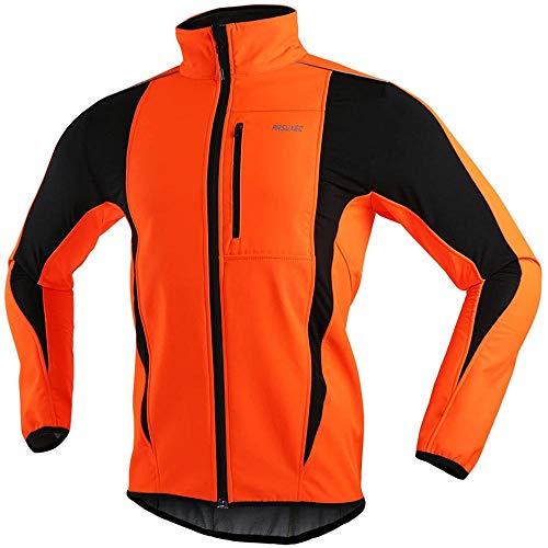 JXTEAM Veste Cyclisme d'hiver pour Hommes Veste de Course à Vélo Thermique Coupe-Vent Respirant-Orange_XL