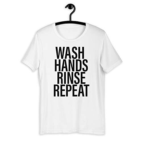 Chameleon Living CORONAVIRUS Memes - Camiseta de manga corta para lavar las manos, repetir COVID 19