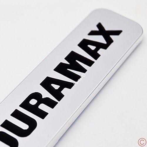 Black White 2PCS DIRTY-MAX DURAMAX Engine Badge Emblem Turbo Diesel Intercooled Hood Door compatible with Silverado 2500HD 3500HD