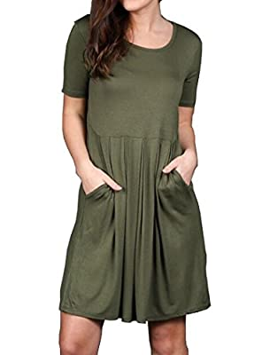 Halife Women's Casual Pleated Short Sleeve Swing Tunic Shirt Dress With Pockets