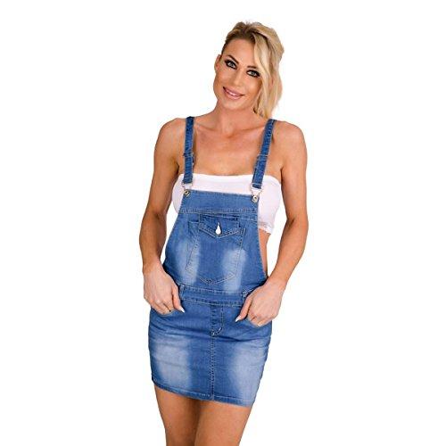 Fashion4Young 10419 Damen Jeansskirt Jeansrock Minirock Trägern Latzrock Rock Jeans Blau (blau, XS=34)