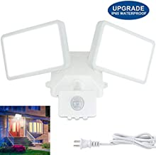 DLLT LED Motion Sensor Security Flood Light Outdoor-20W Pir Sensor Wall Lamp Fixture Waterproof Spot Lights for Garage Yard Garden Lighting Daylight with US Plug in, 2 Adjustable Heads, Super Bright