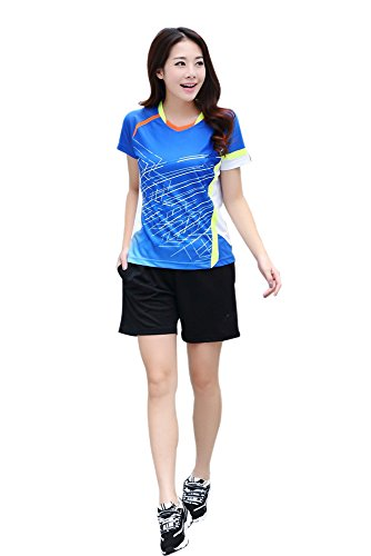 BOZEVON Sportswear Collection Funktion Sport Kleidung Fitness Quick Dry Badminton-Kleidung 2 PCS, Blau-Damen, EU L = Tag XL