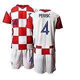 CHTG Kinder New Croatia PERISIC No.4 Heim Fußball Trikot Schnell trocknende Sportbekleidung (24)
