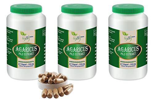 VITAIDEAL VEGAN® Agaricus Pilz Extrakt (Agaricus Blazei Murill, Mandelpilz) 3x360 pflanzliche Kapseln je 550mg, rein natürlich ohne Zusatzstoffe.