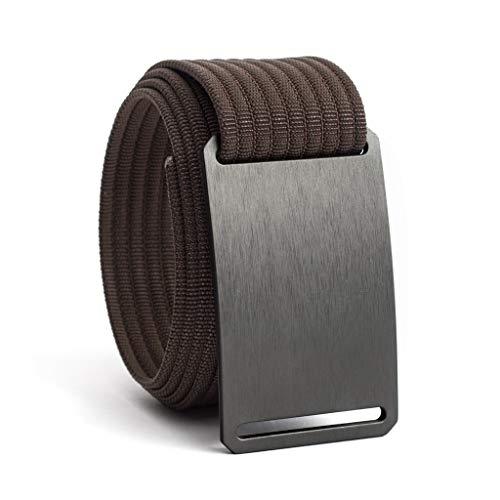34 Inch Gunmetal Casual Web Belts For Men   Grey Buckle w/Mocha Strap