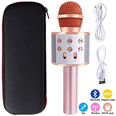 Mukum 3 In 1 Wireless Microphone for Karaoke Microphone Compatible with Pc/iPad/iPhone/Android Smart-Phone for Party (Rose Gold)