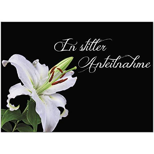 4 x Beileidskarte mit Umschlag/Motiv In stiller Anteilnahme/Beerdigung, Trauer, Sterbefall, Tod/Anteilnahme/Beileid