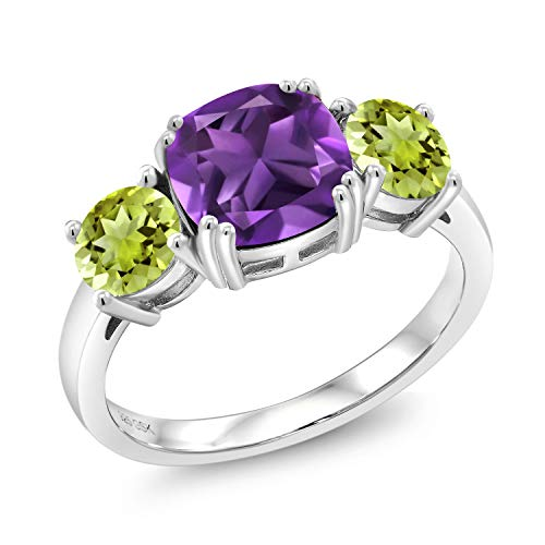 Gem Stone King Purple Amethyst and Green Peridot 925 Sterling Silver Women Meghan Ring (3.05 Ct Cushion, Available in size 5, 6, 7, 8, 9)