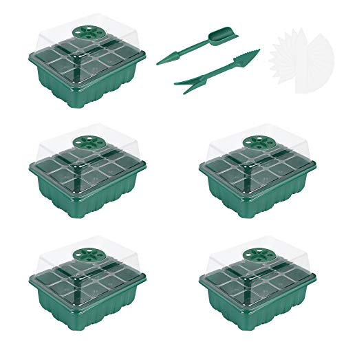 Flintronic Bandeja de Germinación de 5Pcs, Bandejas Semilleros con 12 Células Plántulas, Kit de Inicio de Planta Ajustable de Humedad De 60 Celdas para Cultivo de Semillas y Plantas
