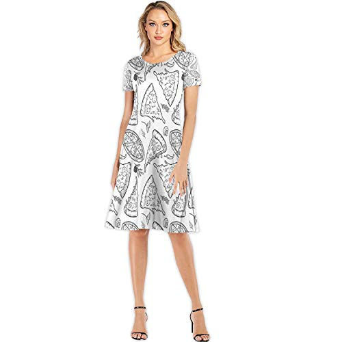 C COABALLA Seamless Pattern with Pizza,Fashion Dress Elegant Ladies Midi Dress M
