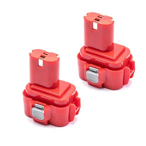 vhbw 2x NiMH Batteries 3000mAh (9.6V) pour outils électroniques comme Makita 9100A, 9101, 9101A, 9102, 9102A