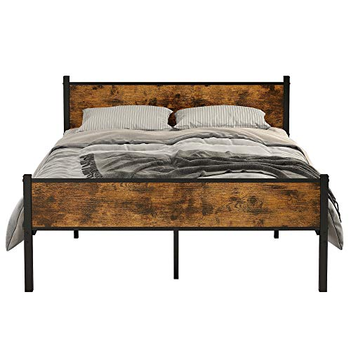 IRONCK Queen Bed Frame with Headboard, Metal Bed Frame Queen Size with 16 Heavy Duty Steel Slats and 10 Legs, More Stronger, Noise-Free, No Box Spring Needed