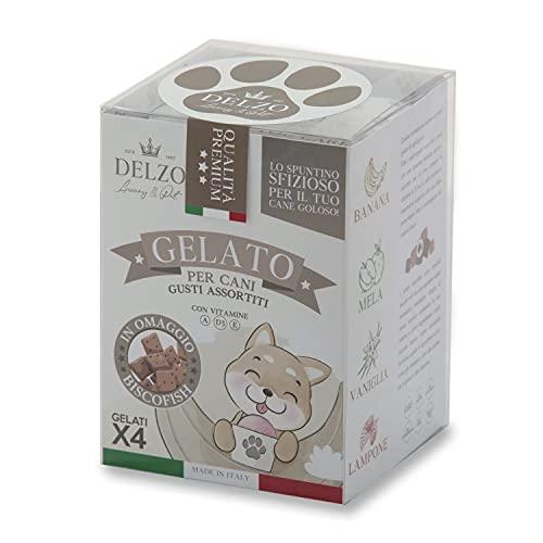 DELZO LUXURY PET | Gelato Per Cani E Gatti | Biscotti Per Cani | Preparato Per Gelato Con Vitamine A - D3 - E | Gelati Per Cane In 4 Gusti Più BISCOFISH In Regalo