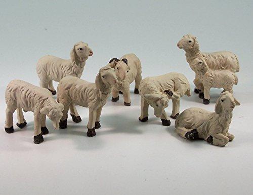 Krippenshop Schafe, Schafherde 7 TLG. Polyresin, handbemalt. 2,5-4 cm. Für Weihnachtskrippe.