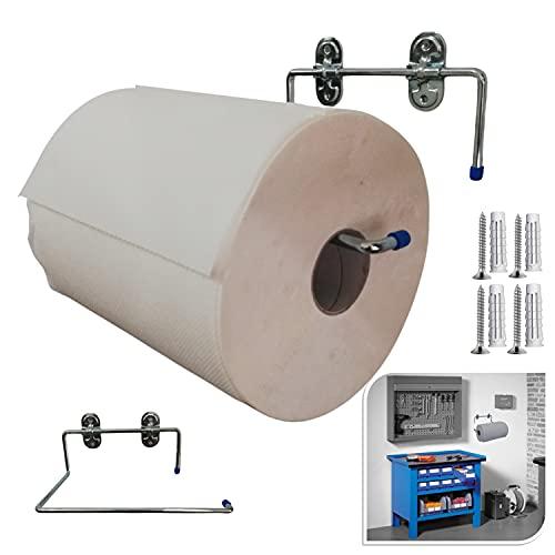 Parpyon® Portarotolo industriale a muro parete porta asciugamani bagno per rotoloni asciugatutto Ideale in cucina, garage, palestra, per bobina carta asciugamani monouso (mod. 4020)