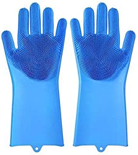 Magic Dishwashing Gloves Reusable Silicone Gloves with Scrubber Brush Suit for Kitchen,Pet Grooming,Bathroom,Washing Car C...